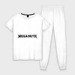 Пижама хлопковая женская Megadeth цвета белый — фото 1