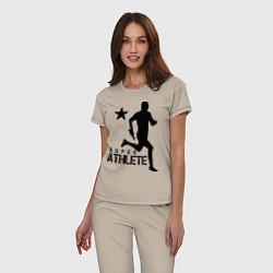 Пижама хлопковая женская Лёгкая атлетика цвета миндальный — фото 2