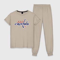 Пижама хлопковая женская Washington Capitals цвета миндальный — фото 1