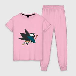 Пижама хлопковая женская San Jose Sharks цвета светло-розовый — фото 1