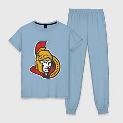 Пижама хлопковая женская Ottawa Senators цвета мягкое небо — фото 1