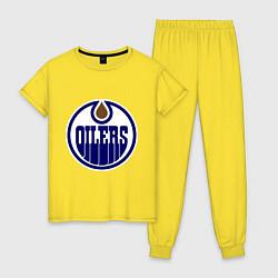 Пижама хлопковая женская Edmonton Oilers цвета желтый — фото 1