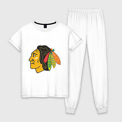 Пижама хлопковая женская Chicago Blackhawks цвета белый — фото 1