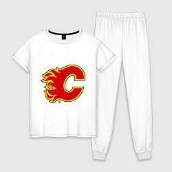 Пижама хлопковая женская Calgary Flames цвета белый — фото 1