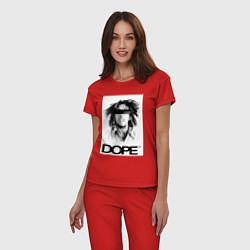 Пижама хлопковая женская Bob Marley Dope цвета красный — фото 2