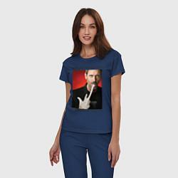 Пижама хлопковая женская House Hates You цвета тёмно-синий — фото 2