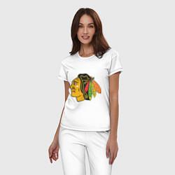Пижама хлопковая женская Chicago Blackhawks: Kane цвета белый — фото 2