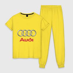Пижама хлопковая женская Audi цвета желтый — фото 1