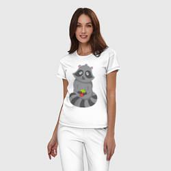 Пижама хлопковая женская Енотик с клубникой цвета белый — фото 2