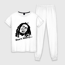 Пижама хлопковая женская Bob Marley: Don't worry цвета белый — фото 1