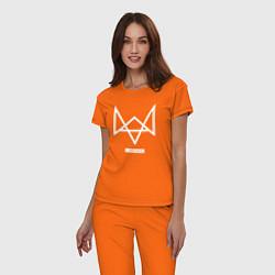 Пижама хлопковая женская Hello world цвета оранжевый — фото 2