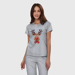 Пижама хлопковая женская Рождественский олень цвета меланж — фото 2