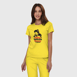 Пижама хлопковая женская Как же нам царям тяжело! цвета желтый — фото 2