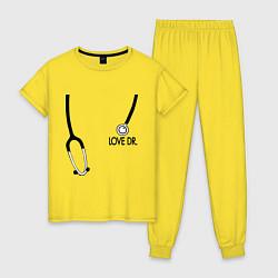 Пижама хлопковая женская Love Dr. House цвета желтый — фото 1