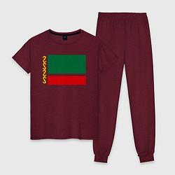 Пижама хлопковая женская Чечня: флаг цвета меланж-бордовый — фото 1