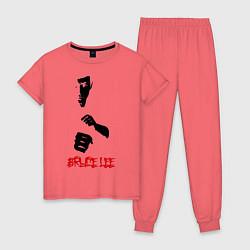 Пижама хлопковая женская Bruce Lee цвета коралловый — фото 1