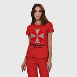 Пижама хлопковая женская Umbrella corporation цвета красный — фото 2