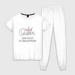 Пижама хлопковая женская Королевы рождаются в декабре цвета белый — фото 1