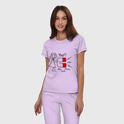 Пижама хлопковая женская Yap: Our love story цвета лаванда — фото 2