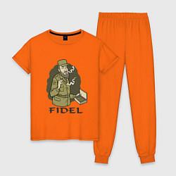 Пижама хлопковая женская Fidel Castro цвета оранжевый — фото 1