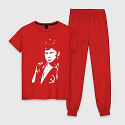 Пижама хлопковая женская Юрий Клинских цвета красный — фото 1