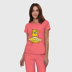 Пижама хлопковая женская Пришелец Саня цвета коралловый — фото 2