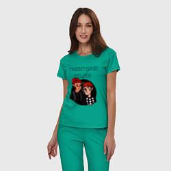 Пижама хлопковая женская TOP Boys цвета зеленый — фото 2