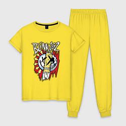 Пижама хлопковая женская Blink-182: Mixed Up цвета желтый — фото 1