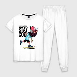 Пижама хлопковая женская Stay cool цвета белый — фото 1