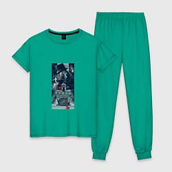 Пижама хлопковая женская Delaney Art цвета зеленый — фото 1