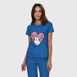 Пижама хлопковая женская Влюбленный котик цвета синий — фото 2