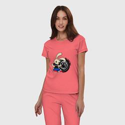 Пижама хлопковая женская Blink-182: Street rabbit цвета коралловый — фото 2