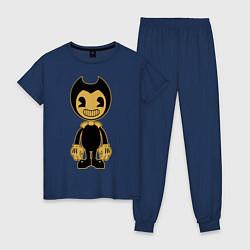 Пижама хлопковая женская Bendy цвета тёмно-синий — фото 1