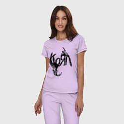 Пижама хлопковая женская Korn bones цвета лаванда — фото 2