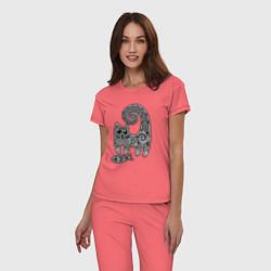 Пижама хлопковая женская Кот3 цвета коралловый — фото 2