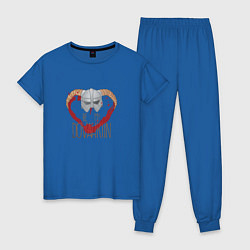 Пижама хлопковая женская Dovahkiin цвета синий — фото 1