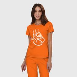 Пижама хлопковая женская Jah Khalib цвета оранжевый — фото 2