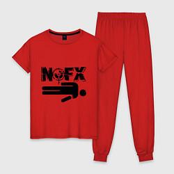 Пижама хлопковая женская NOFX crushman цвета красный — фото 1