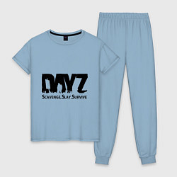 Пижама хлопковая женская DayZ: Slay Survive цвета мягкое небо — фото 1