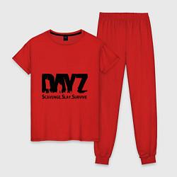 Пижама хлопковая женская DayZ: Slay Survive цвета красный — фото 1