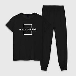 Пижама хлопковая женская Black Mirror цвета черный — фото 1