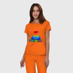 Пижама хлопковая женская Зов джунглей цвета оранжевый — фото 2