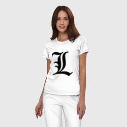Пижама хлопковая женская L - Death Note цвета белый — фото 2