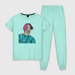 Пижама хлопковая женская Lil Peep: Zombie Face цвета мятный — фото 1