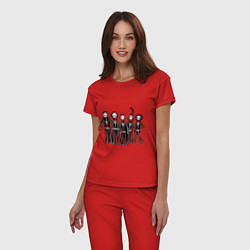 Пижама хлопковая женская Отбросы-скелеты цвета красный — фото 2