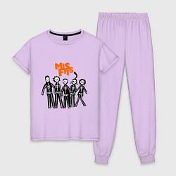 Пижама хлопковая женская Misfits Skeletons цвета лаванда — фото 1