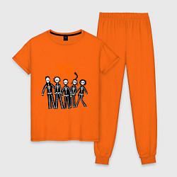 Пижама хлопковая женская Misfits Skeletons цвета оранжевый — фото 1