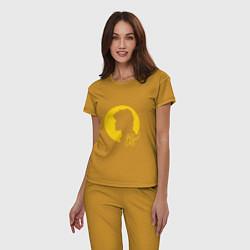 Пижама хлопковая женская Виктор Цой цвета горчичный — фото 2