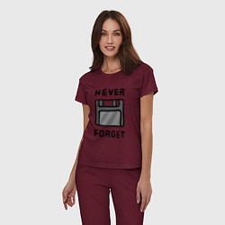 Пижама хлопковая женская Never Forget цвета меланж-бордовый — фото 2