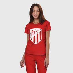 Пижама хлопковая женская FC Atletico Madrid цвета красный — фото 2